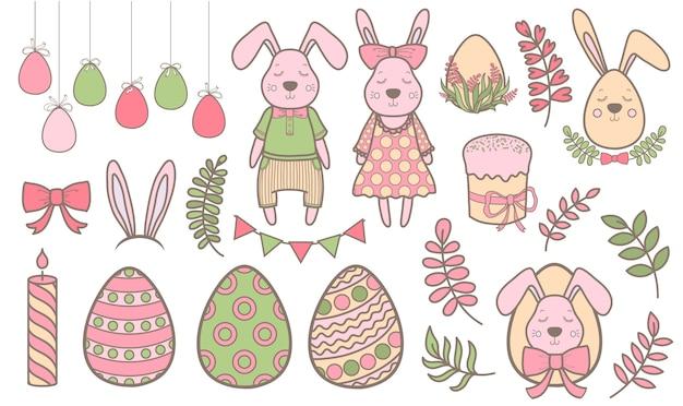 부활절 디자인 요소 집합입니다. 계란, 토끼, 꽃, 가지, 바구니, 촛불. 휴일 장식에 적합