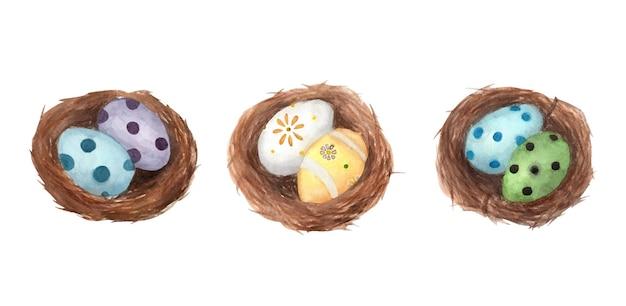 Набор пасхальных яиц в гнезде. акварельная иллюстрация.