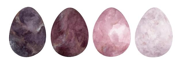 다른 텍스처와 부활절 달걀의 집합입니다. 수채화 그림.