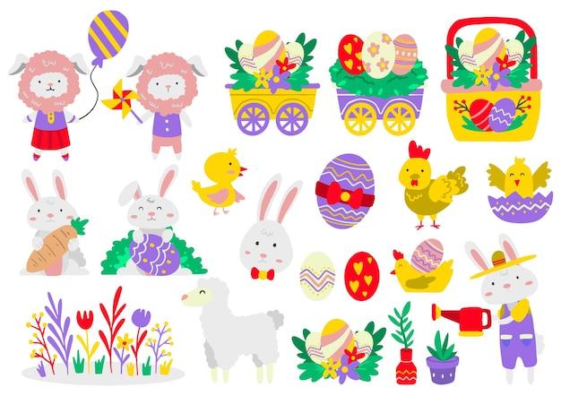 Набор пасхальных элементов с крашеными яйцами и животными. счастливой пасхи