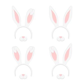 ウサギの耳、イラスト、イラスト、白背景に隔離されたイースターマスクのセット。耳の休日セットと漫画のかわいいヘッドバンド。フラットデザインスタイル。
