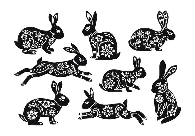 分離されたイースターのウサギの装飾のセット