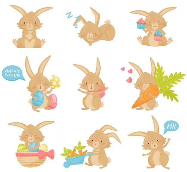 さまざまなアクションでイースターのウサギのセットです。長い耳と短い尾を持つ愛らしい茶色のウサギ