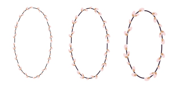 Набор пасхальных венков из ивы. овальный венок из стеблей ивы