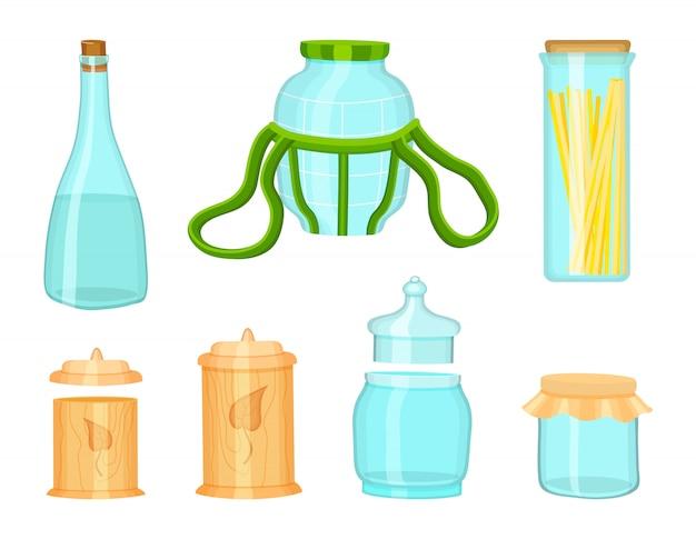 친환경 주방 식품 저장, 목재, 대나무 및 유리 에코 항목, 유기농 재료 세트