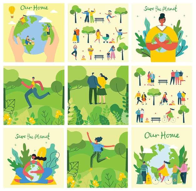 エコセーブ環境写真のセット。惑星のコラージュの世話をしている人々。ゼロウェイスト、グリーンと考え、地球を救う、モダンなフラットデザインの私たちの家の手書きテキスト