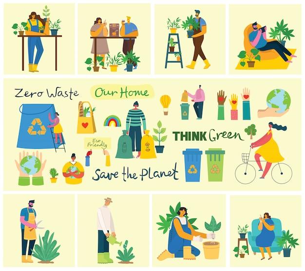 Набор из эко сохранить фотографии окружающей среды. люди заботятся о планете коллаж. ноль отходов, мыслите зеленым, спасите планету, наш домашний рукописный текст в современном плоском дизайне