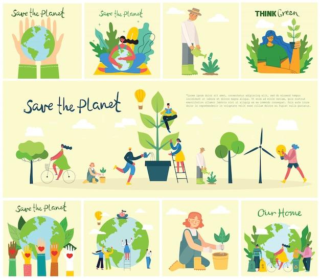 Набор из эко сохранить фотографии окружающей среды. люди заботятся о планете коллаж