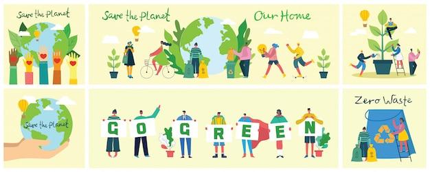 Набор эко-изображений окружающей среды. люди заботятся о планете. ноль отходов, думайте, зеленый, сохранить планету, наш дом рукописный текст.