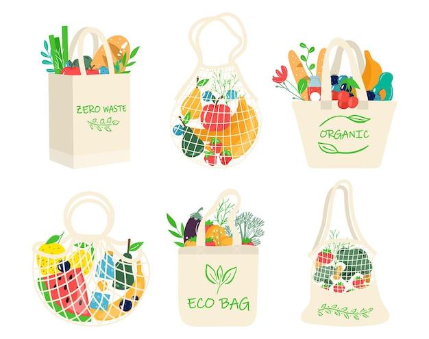 野菜、果物、健康的な飲み物が入ったエコショッピングバッグのセット。再利用可能な環境に優しい買い物客ネットの乳製品。ゼロウェイスト、プラスチックフリーのコンセプト。フラットなトレンディなデザイン
