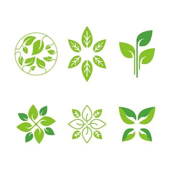 ヨガの自然食品と有機食品のエコロジーグリーンロゴデザインのセット
