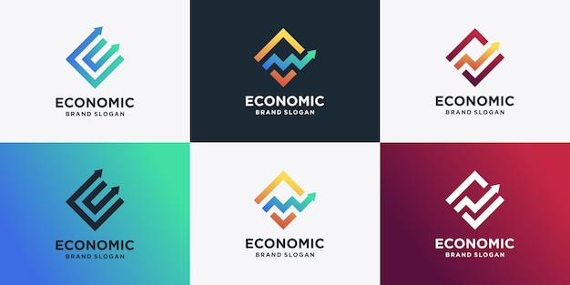 독특한 화살표 개념이 있는 경제 로고 컬렉션 세트 premium vector