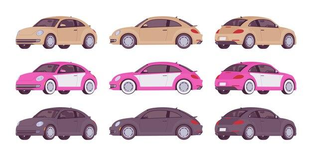 ベージュ、ピンク、黒色のエコノミーカーのセット