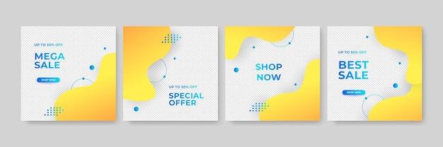編集可能な最小の正方形のバナーテンプレートのセット。青と黄色の背景色とストライプの線の形。ソーシャルメディアの投稿やウェブインターネット広告に適しています。フォトカレッジとベクトルイラスト