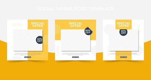 Набор редактируемого минимального квадратного шаблона баннера. публикация в социальных сетях и реклама в интернете с фотоколлажем.