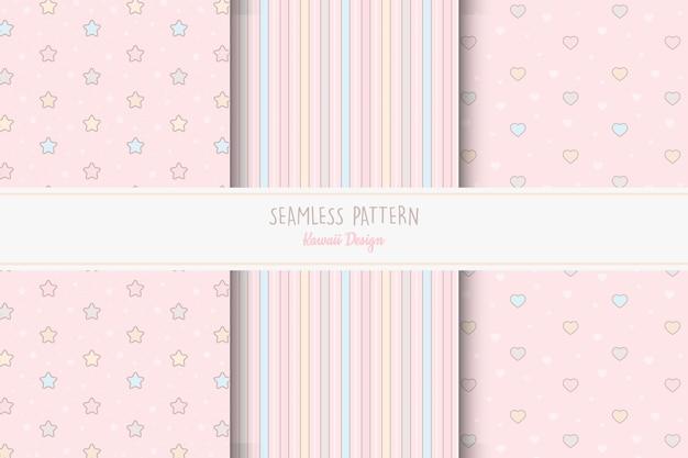 편집 가능한 핑크 소녀 패턴의 집합