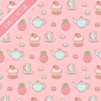 編集可能なピンクのお茶とイチゴのパターンのセット
