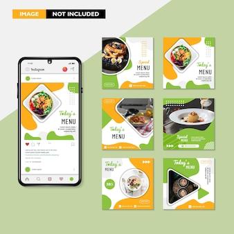 레스토랑에 적합한 instagram의 음식 게시물을 위한 편집 가능한 사각형 배너 템플릿 디자인 세트
