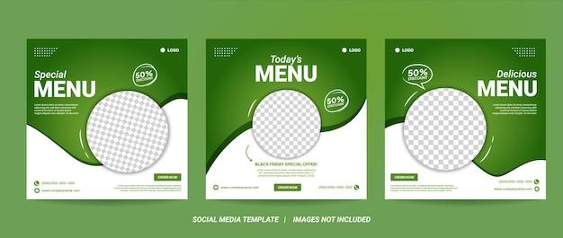 健康食品の投稿のための編集可能な正方形のバナーテンプレートデザインのセット。ソーシャルメディアポストレストランや料理のデジタルプロモーションに適しています。白と緑の背景色形状ベクトル。