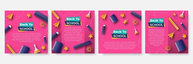 ソーシャルメディアの投稿、正方形のフレーム、ソーシャルメディア、新学期、コース、広告、ビジネスプロモーション、新鮮なデザインの編集可能なテンプレートのセット