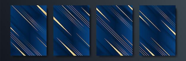 Набор редактируемых шаблонов для истории в социальных сетях, шаблона сообщения, корпоративного, рекламного и делового, свежий дизайн в простом синем золотом цвете