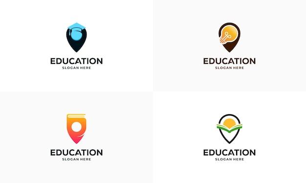 教育ポイントロゴデザインコンセプトベクトルイラスト、ラーニングセンターロゴシンボルアイコンテンプレートのセット