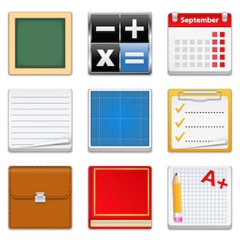 教育の正方形のアイコン、イラストのセット
