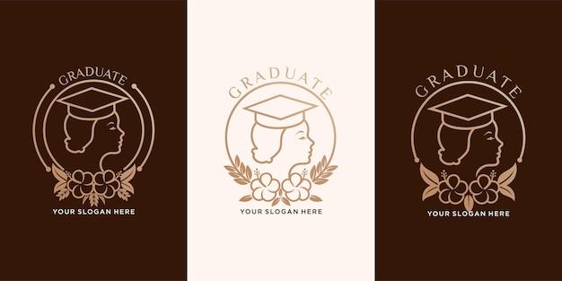 빈티지 스타일로 대학을 졸업한 교육용 로고 디자인과 아름다운 여성. 벡터 디자인 템플릿