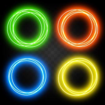 設計のための効果のネオン円のセット。抽象的な光沢のある光の輪