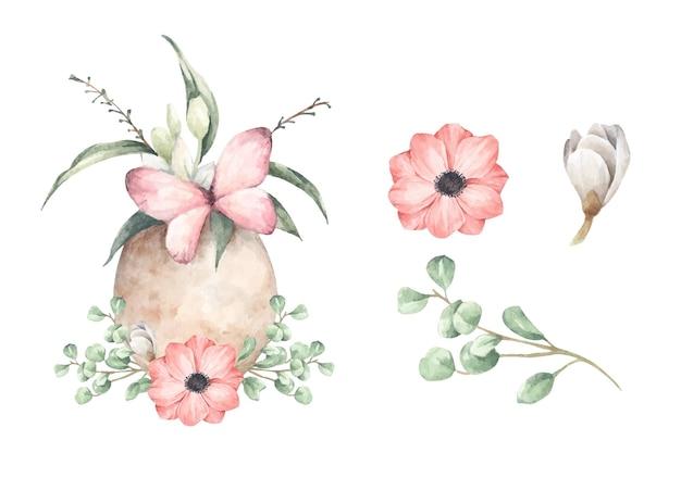 花の枝と卵のセット。水彩イラスト。
