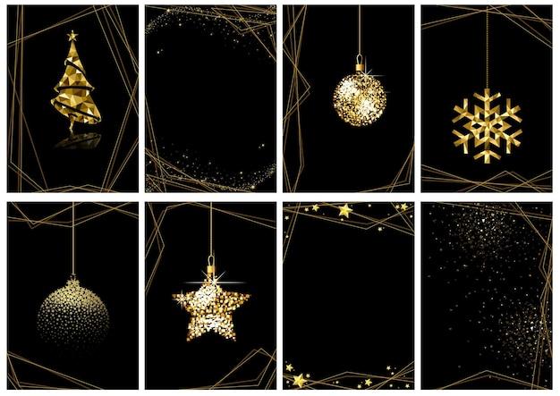 블랙에 8 크리스마스 골드 럭셔리 인사말 카드 세트
