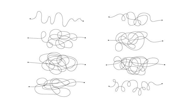 지저분한 선이 있는 8개의 복잡한 잘못된 방법 집합입니다. 흰색 배경에 분리된 끝 부분에 시작점이 있고 화살표가 있는 검은색 선. 벡터 일러스트 레이 션