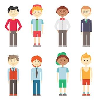 多様な髪型と民族性を持つカジュアルなスマートとスポーツの服を着た8つの異なるカラフルなベクトル笑顔の男の子のセット