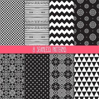 8개의 다른 장식 패턴 세트입니다. 민족 꽃과 기하학적 장식