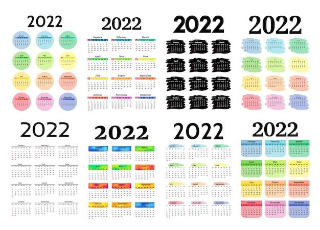 白い背景で隔離の2022年の8つの垂直カレンダーのセットです。日曜日から月曜日、ビジネステンプレート。ベクトルイラスト