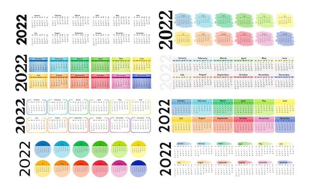 Набор из восьми вертикальных календарей на 2022 год, изолированных на белом фоне. с воскресенья по понедельник, деловой шаблон. векторная иллюстрация