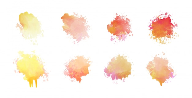 8水彩汚れセットデザインのセット