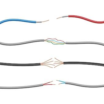 Набор провода электрического кабеля, изолированные на белом фоне, векторные иллюстрации