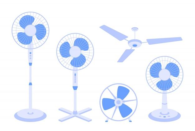 흰색 배경에 고립 된 다양 한 종류의 전기 팬들의 집합입니다. 공기 냉각 및 컨디셔닝, 기후 제어를위한 가정용 장치의 번들 또는 수집.