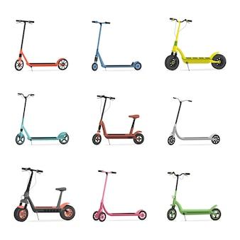 Комплект электросамокатов. синие, красные, розовые, зеленые, серые и желтые скутеры на белом фоне.