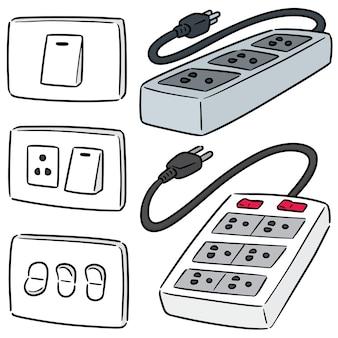 電気スイッチとプラグのセット