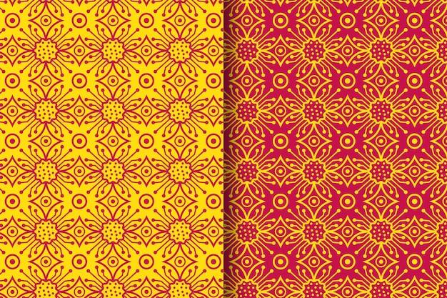 전기 원활한 패턴 개념 세트는 노란색 및 빨간색 색상의 현대적인 윤곽선 스타일을 사용합니다.