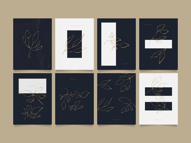 壁の装飾、壁紙、カバー、招待状、バナー、パンフレット、ポスター、またはカードに適した金の花の装飾が施されたエレガントな抽象的な背景テンプレートのセット