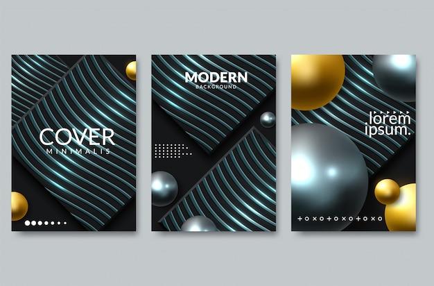 우아한 배경 디자인의 집합입니다. 다채로운 그라디언트, 황금, 카드, 배경, 커버, eps10 벡터.