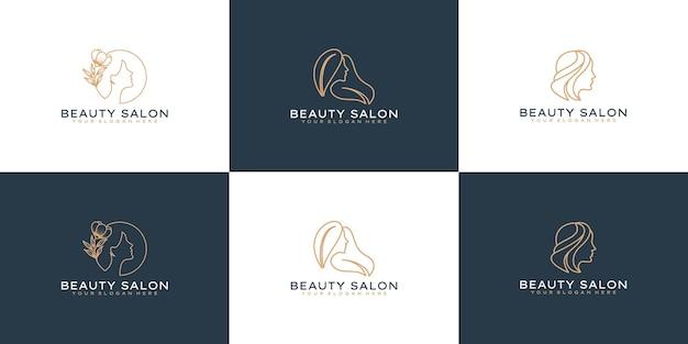 エレガントな美しさの女性のロゴデザインのアイデアのセット
