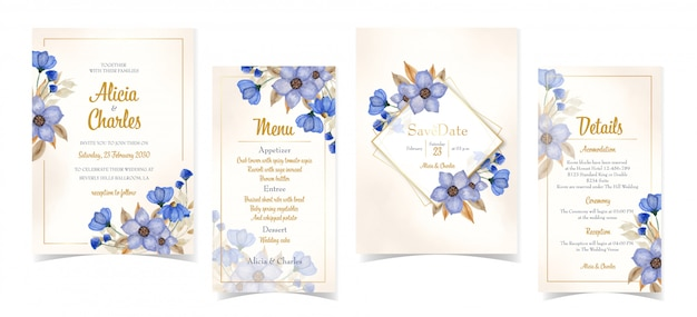 Набор элегантных синих цветочных свадебных приглашений