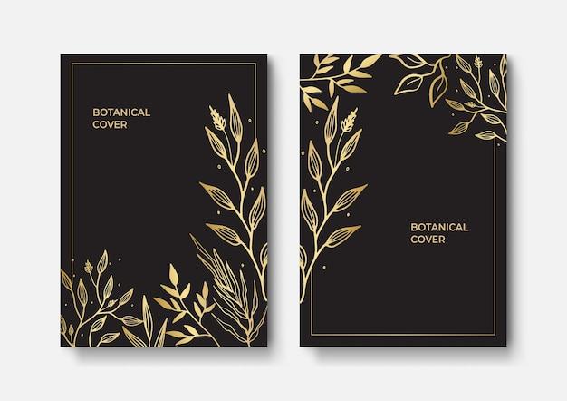 エレガントなパンフレット、カード、カバーのセット。黒と金色の大理石の質感。ヴィンテージゴールドの背景。幾何学的なフレーム。パームエキゾチックな葉。植物画