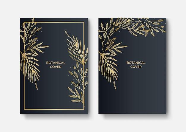 Набор элегантных брошюр, открыток, обложек. черная и золотая мраморная текстура. старинный золотой фон. геометрическая рамка. экзотические листья пальмы. ботаническое искусство