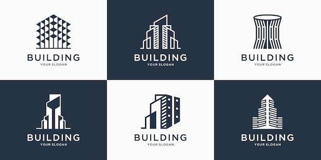 Набор элегантных строительных логотипов с линейным искусством концепция городского строительства аннотация для вдохновения логотипа