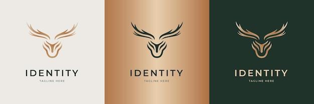 Набор элегантных оленей логотипа для бизнеса